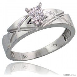 10k White Gold Diamond Engagement Ring 0.06 cttw Brilliant Cut, 3/16 in wide
