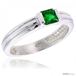Sterling Silver Cubic Zirconia Solitaire Ring Emerald color Princess-cut Flawless Finish