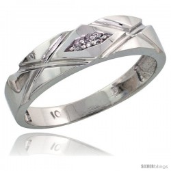 10k White Gold Ladies Diamond Wedding Band Ring 0.02 cttw Brilliant Cut, 3/16 in wide