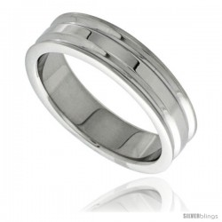 Stainless Steel 6mm Wedding Band Ring 2 Grooves High Polish