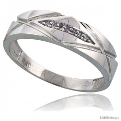 10k White Gold Mens Diamond Wedding Band Ring 0.04 cttw Brilliant Cut, 1/4 in wide