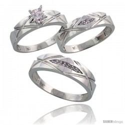 10k White Gold Trio Engagement Wedding Rings Set for Him & Her 3-piece 6 mm & 5 mm wide 0.12 cttw Brilliant Cut
