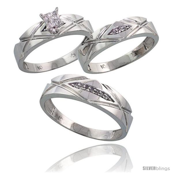 10k white gold trio engagement wedding rings set for him