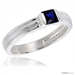 Sterling Silver Cubic Zirconia Solitaire Ring Sapphire color Princess-cut Flawless Finish