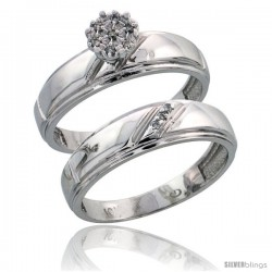 10k White Gold Diamond Engagement Rings Set 2-Piece 0.06 cttw Brilliant Cut, 7/32 in wide