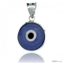 Sterling Silver Blue-Violet Color Evil Eye Pendant, 5/8 in wide