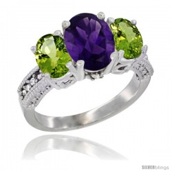 14K White Gold Ladies 3-Stone Oval Natural Amethyst Ring with Peridot Sides Diamond Accent