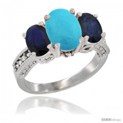 10K White Gold Ladies Natural Turquoise Oval 3 Stone Ring with Blue Sapphire Sides Diamond Accent