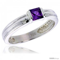 Sterling Silver Cubic Zirconia Solitaire Ring Amethyst color Princess-cut Flawless Finish