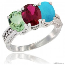 14K White Gold Natural Green Amethyst, Ruby & Turquoise Ring 3-Stone 7x5 mm Oval Diamond Accent