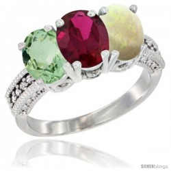 14K White Gold Natural Green Amethyst, Ruby & Opal Ring 3-Stone 7x5 mm Oval Diamond Accent