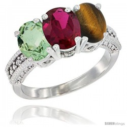 14K White Gold Natural Green Amethyst, Ruby & Tiger Eye Ring 3-Stone 7x5 mm Oval Diamond Accent