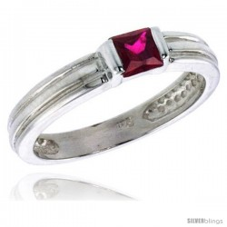 Sterling Silver Cubic Zirconia Solitaire Ring Garnet color Princess-cut Flawless Finish