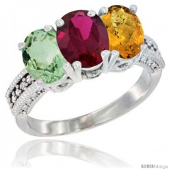 14K White Gold Natural Green Amethyst, Ruby & Whisky Quartz Ring 3-Stone 7x5 mm Oval Diamond Accent