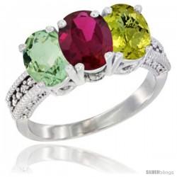 14K White Gold Natural Green Amethyst, Ruby & Lemon Quartz Ring 3-Stone 7x5 mm Oval Diamond Accent
