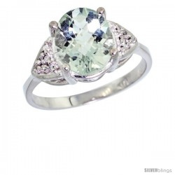 14k White Gold Diamond Green Amethyst Ring 2.40 ct Oval 10x8 Stone 3/8 in wide