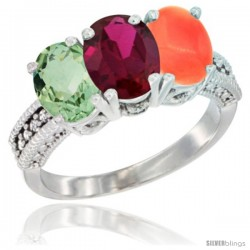 14K White Gold Natural Green Amethyst, Ruby & Coral Ring 3-Stone 7x5 mm Oval Diamond Accent
