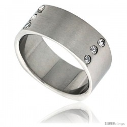 Surgical Steel Square Cubic Zirconia Ring 9mm Wedding Band