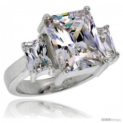Sterling Silver 4.0 Carat Size Emerald Cut Cubic Zirconia Solitaire Bridal Ring