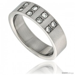 Surgical Steel Cubic Zirconia 8-Stone Ring 6mm Wedding Band