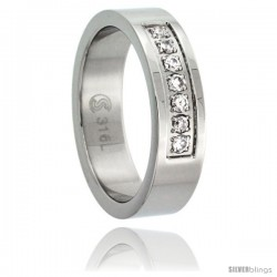 Surgical Steel Cubic Zirconia 7-Stone Ring 6mm Wedding Band