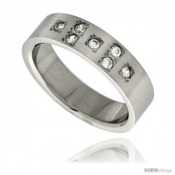 Surgical Steel Cubic Zirconia 7-stone Cross Ring 6mm Wedding Band