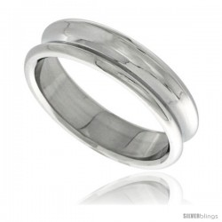 Surgical Steel Concaved Ring 6mm Wedding Band Polished Finish