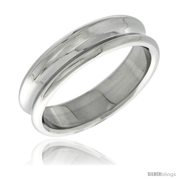 surgical steel concaved ring 6mm wedding band polished