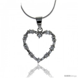 Sterling Silver Heart pendant with Round & Baguette Cubic Zirconia