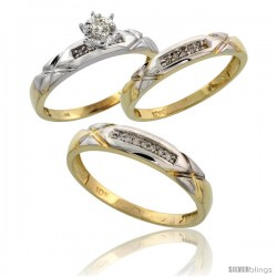 10k Yellow Gold Diamond Trio Wedding Ring Set His 4mm & Hers 3.5mm