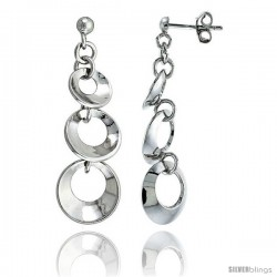 Sterling Silver Graduated Circles Dangling Post Earrings, 1 1/2 (38 mm)
