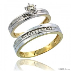 10k Yellow Gold 2-Piece Diamond wedding Engagement Ring Set for Him & Her, 3mm & 5mm wide