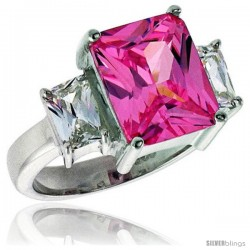 Sterling Silver 4.0 Carat Size Emerald Cut Pink Tourmaline CZ Bridal Ring