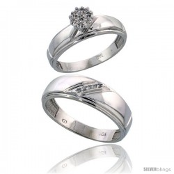 10k White Gold Diamond Engagement Rings 2-Piece Set for Men and Women 0.07 cttw Brilliant Cut, 5.5mm & 7mm wide