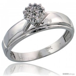 10k White Gold Diamond Engagement Ring 0.04 cttw Brilliant Cut, 7/32 in wide