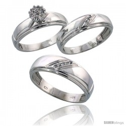 10k White Gold Diamond Trio Engagement Wedding Ring 3-piece Set for Him & Her 7 mm & 5.5 mm wide 0.09 cttw Brilliant Cut