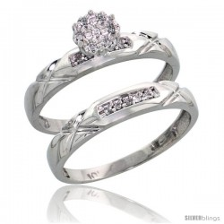 10k White Gold Diamond Engagement Rings Set 2-Piece 0.09 cttw Brilliant Cut, 1/8 in wide