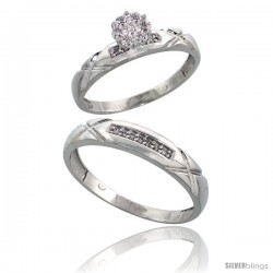 10k White Gold Diamond Engagement Rings 2-Piece Set for Men and Women 0.10 cttw Brilliant Cut, 4 mm & 3.5 mm wide