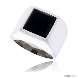 "Sterling Silver Gents' Ring w/ a Square-shaped Jet Stone, 5/8"" (16 mm) wide"