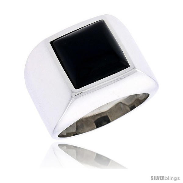 16mm Sterling Silver Gents Ring w// a Square-shaped Jet Stone wide size 11 5//8