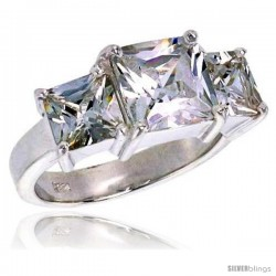 Sterling Silver 3.0 Carat Size Princess Cut Cubic Zirconia Bridal Ring