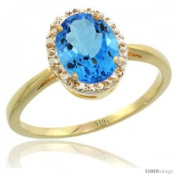 10k Yellow Gold Blue Topaz Diamond Halo Ring 1.17 Carat 8X6 mm Oval Shape, 1/2 in wide