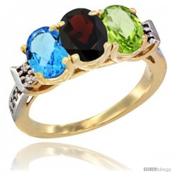 10K Yellow Gold Natural Swiss Blue Topaz, Garnet & Peridot Ring 3-Stone Oval 7x5 mm Diamond Accent