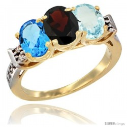 10K Yellow Gold Natural Swiss Blue Topaz, Garnet & Aquamarine Ring 3-Stone Oval 7x5 mm Diamond Accent