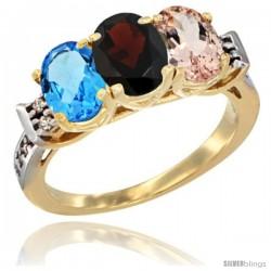 10K Yellow Gold Natural Swiss Blue Topaz, Garnet & Morganite Ring 3-Stone Oval 7x5 mm Diamond Accent