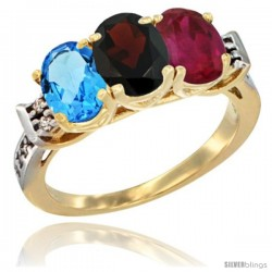 10K Yellow Gold Natural Swiss Blue Topaz, Garnet & Ruby Ring 3-Stone Oval 7x5 mm Diamond Accent