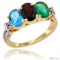 10K Yellow Gold Natural Swiss Blue Topaz, Garnet & Emerald Ring 3-Stone Oval 7x5 mm Diamond Accent