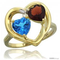 10k Yellow Gold 2-Stone Heart Ring 6mm Natural Swiss Blue & Garnet
