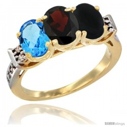 10K Yellow Gold Natural Swiss Blue Topaz, Garnet & Black Onyx Ring 3-Stone Oval 7x5 mm Diamond Accent