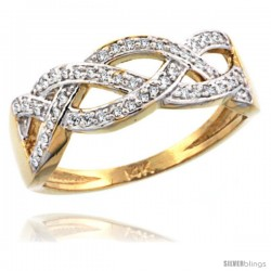 14k Gold Braided Knot Diamond Ring w/ 0.15 Carat Brilliant Cut ( H-I Color VS2-SI1 Clarity ) Diamonds, 9/32 in. (7mm) wide